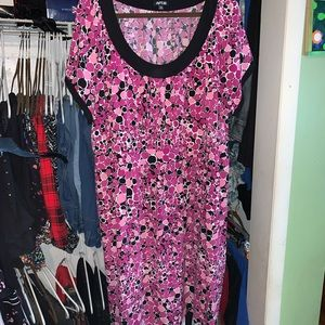 Pink Short Sleeve Dots Dress